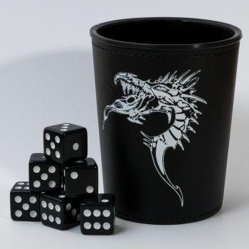 Dice Cup - Black /w Dragon Emblem