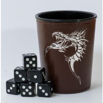 Dice Cup - Brown /w Dragon Emblem